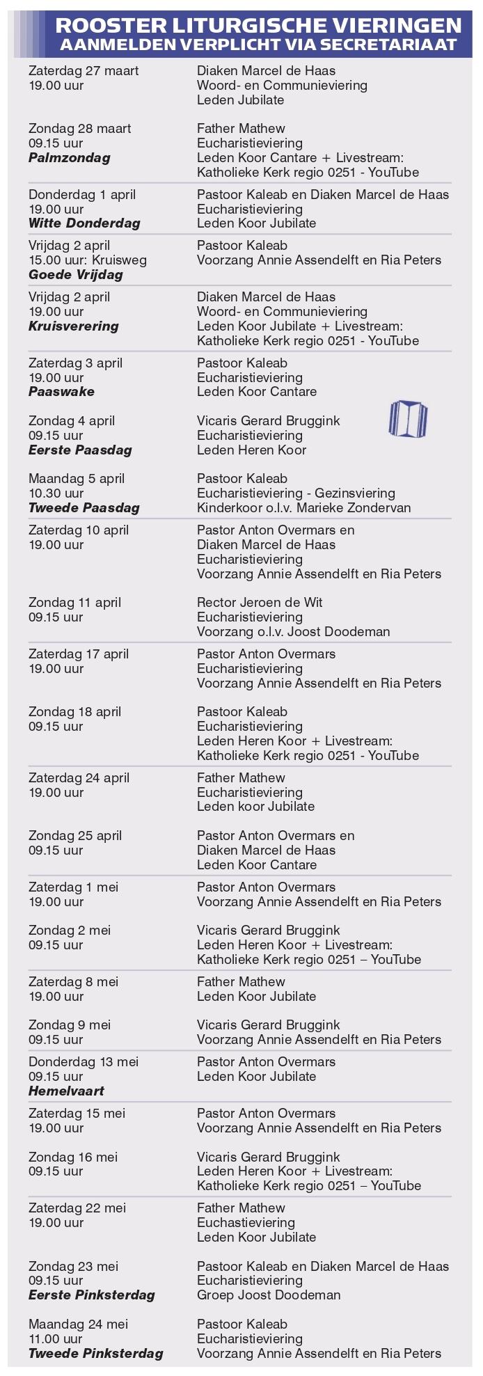 liturgische rooster Pancratiuskerk Castricum maart 2021