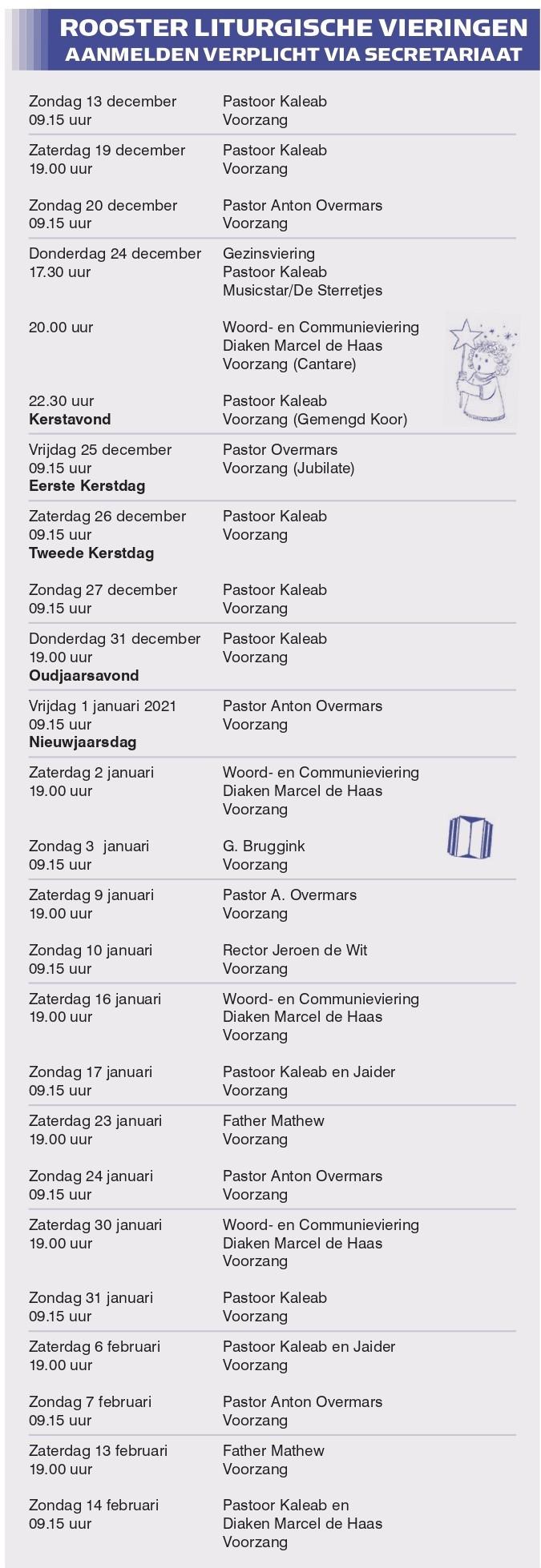 liturgische rooster pancratiuskerk castricum oktober 2020